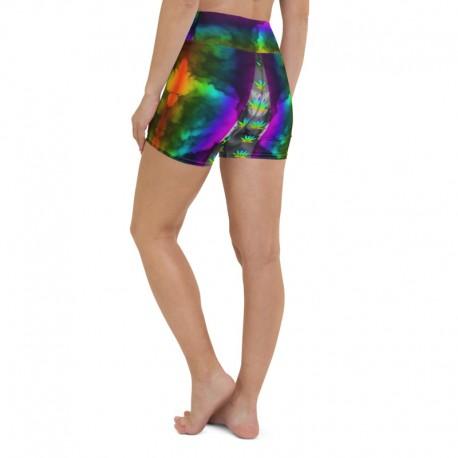 *CUSTOM*  Rainbow Marijuana High Waist Yoga Shorts