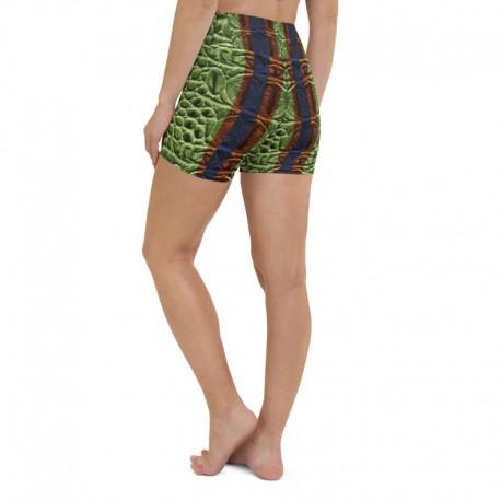 *CUSTOM*  Orange Blue Alligator High waist Yoga Shorts