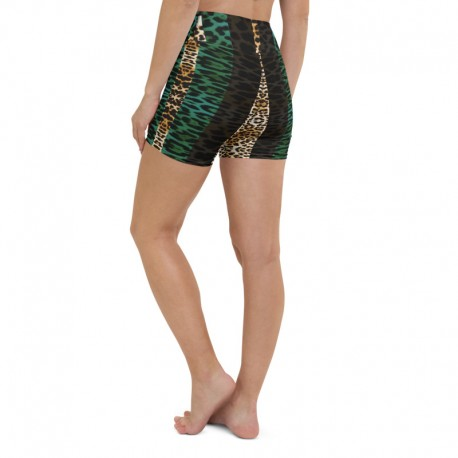 *CUSTOM* Teal Jaguar High Waist Yoga Shorts