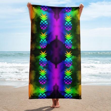 *CUSTOM*  Rainbow Pineapple Beach Towel