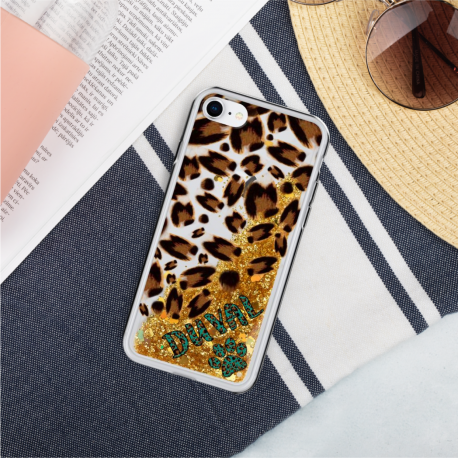 *CUSTOM* Jaguar Liquid Gold Glitter iPhone Case