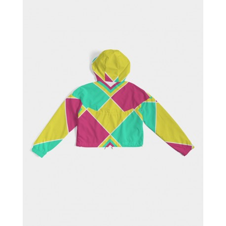 *CUSTOM* Neon Geo Cropped Windbreaker