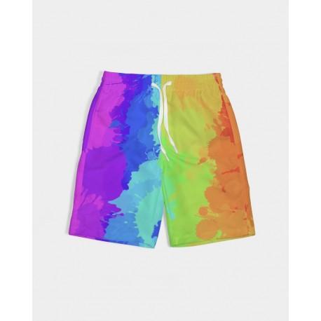 *CUSTOM* Kids Painted Bold Rainbow Swim Trunks