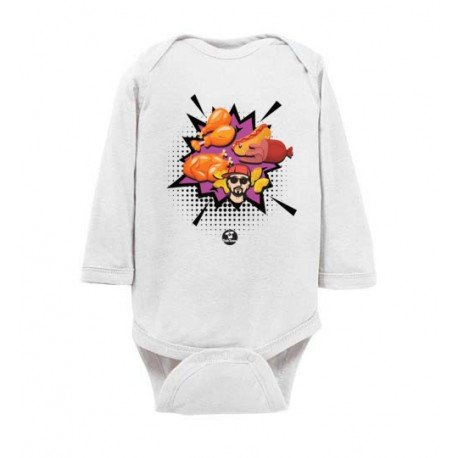 Chicken Wing Chicken Wing Comic Style TokTees - Rabbit Skins Infant Long Sleeve Bodysuit