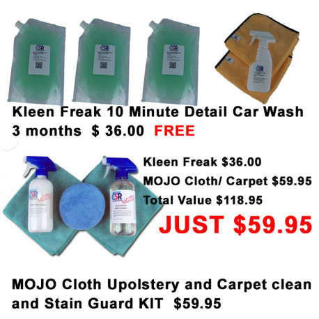 FREE Kleen Freak 3 month plus MOJO Cloth & Carpet Clean and Stain Guard Kit