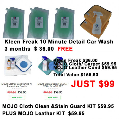 FREE Kleen Freak 3 month plus MOJO Cloth & Carpet Clean and Stain Guard Kit& MOJO Leather Conditioning Kit