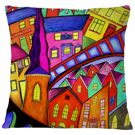 Welsh Village Cushion Cover