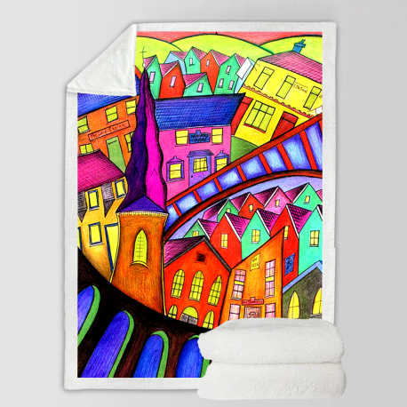 Welsh Village Fleece Blanket