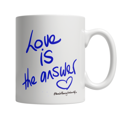 Love is the Answer 11 Oz white ceramic mug (both sides print)