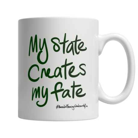 My state creates my fate 11oz white mug (both sides print)