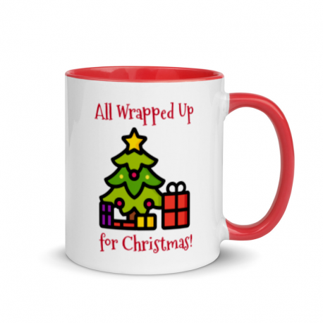 All Wrapped Up Christmas Tree Mug with Red Color Inside