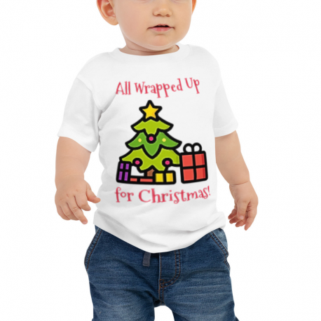 All Wrapped Up Christmas Tree Baby Jersey Short Sleeve Tee