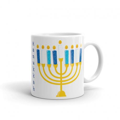 Happy Hanukkah Glossy White Mug
