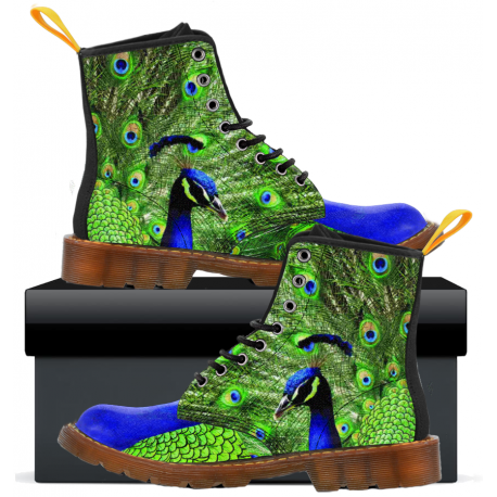 Peacock Feather - Kids Canvas Boots