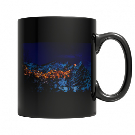 11 ounce Mug with Scene of Snowy Mountain Village at Night