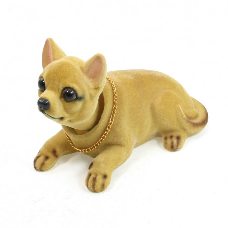 Dog Bobble Head for Auto Vehicle Chihuahua Nodding Bobblehead Dashboard Dog Decor Toy