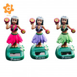 3 Piece Set Solar Car Interior Toy Girl Dancer Hawaii Luau Party Car Dashboard Bobbleheads Bobble Toy Novelty Fun